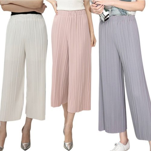 Polyester Plain Pleated Palazzo Pants For Women, Rs 280 /piece .