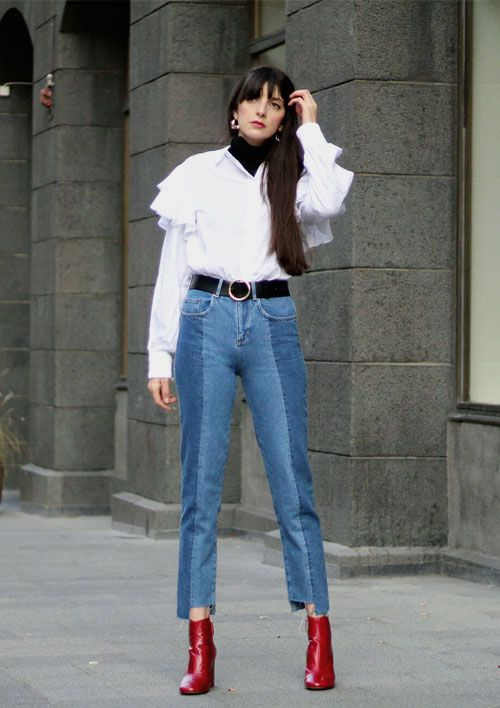 OOTD: How to Wear Red Boots According to Fashion Girls | Red jeans .
