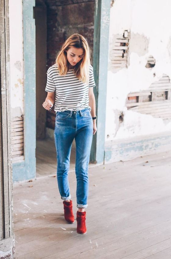 15 Natural Ways on How to Wear Red Ankle Boots | Red ankle boo