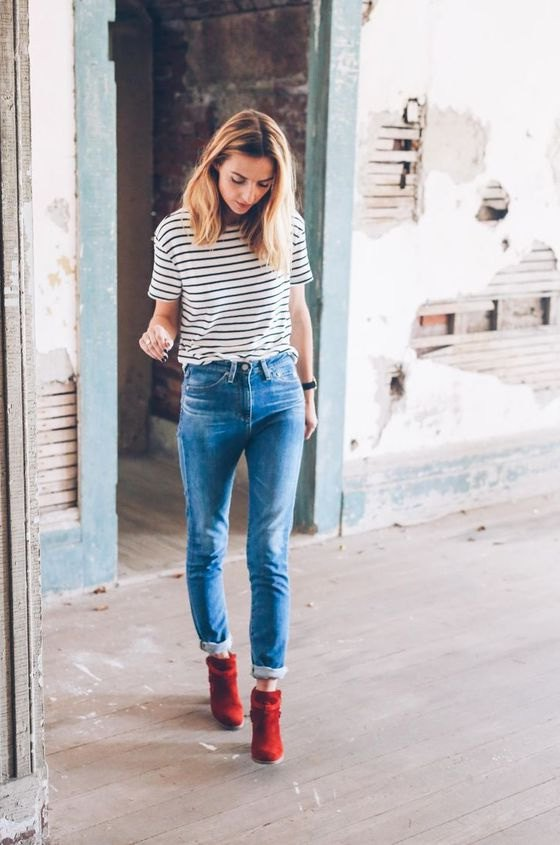 15 Natural Ways on How to Wear Red Ankle Boots - FMag.c