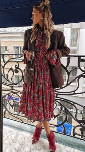 How To Wear Red Suede Ankle Boots With a Red Floral Midi Dress In .
