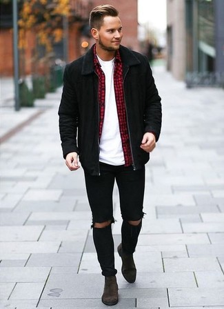 How To Wear a Black Suede Bomber Jacket With Dark Brown Suede .