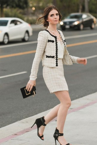 Nic+Zoe Mesh Inset Tweed Jacket Sandshell, $149 | Last Call by .