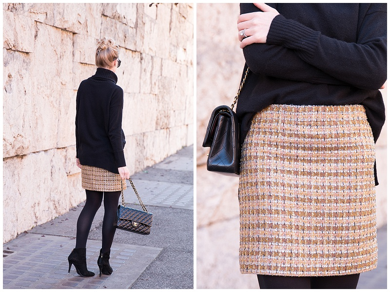 J Crew sparkly tweed mini skirt with oversized sweater, how to .
