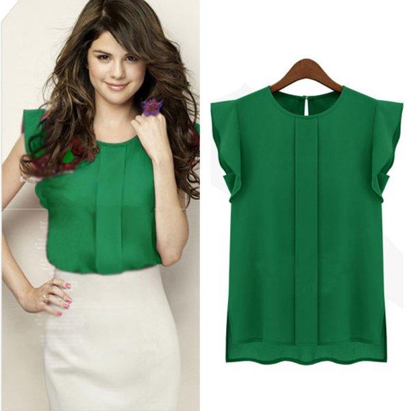 Women Chiffon Blouses Summer Office Lady OL Blouse Shirt Ruffle .