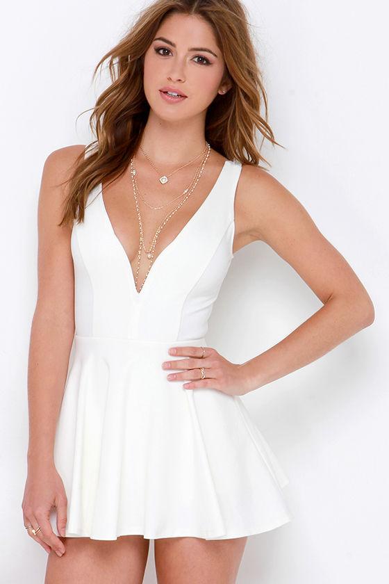 Ivory Skort Dress - Skater Dress - White Romper - $48.