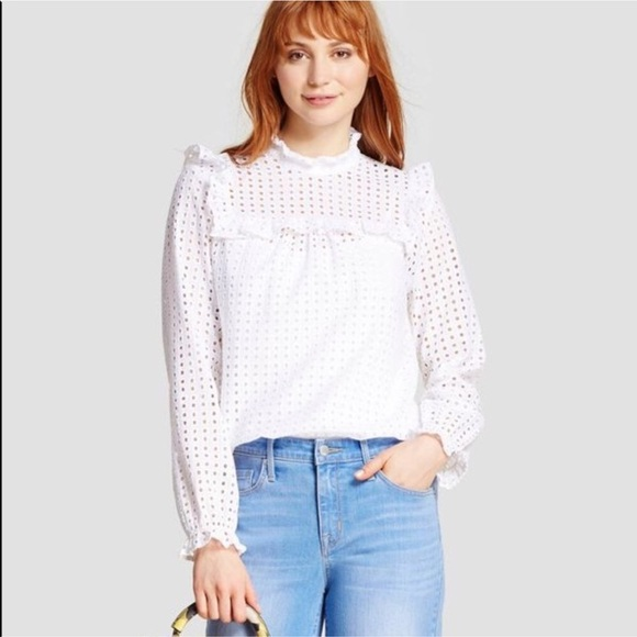 Who What Wear Tops | White Eyelet Lace Ruffle Blouse Top | Poshma
