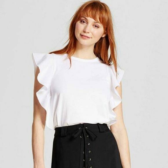 Who What Wear Tops | White Ruffle Sleeve Top Tank | Poshma