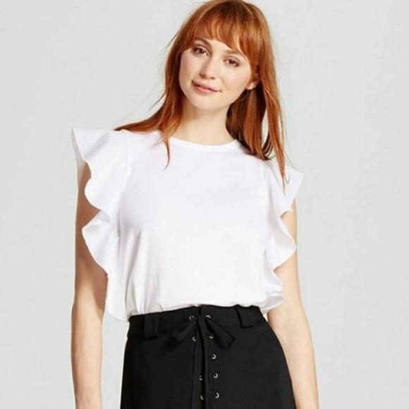 Who What Wear Tops | Euc White Ruffle Top | Poshma