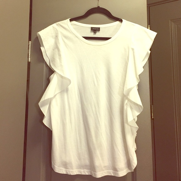 Who What Wear Tops | White Ruffle Tee Shirt | Poshma
