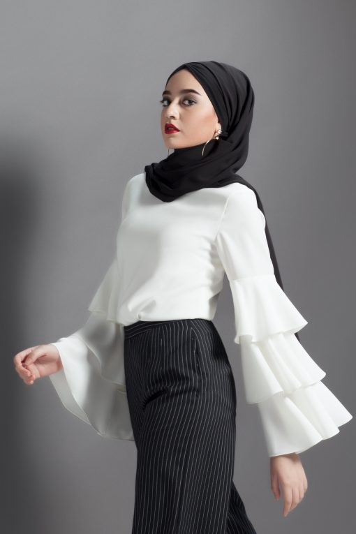 Ruffle Blouse | Norah Sleeve Top in White - Annalinar Modest We