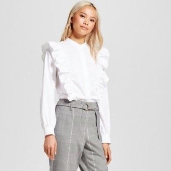 Who What Wear Tops | White Ruffle Blouse | Poshma