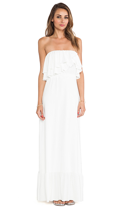 T-Bags LosAngeles Strapless Ruffle Top Dress in White | REVOL