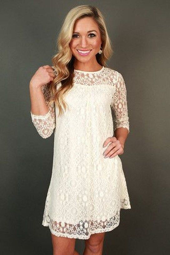 50 Beautiful White Lace Dress Outfits Ideas For Winter | Shower .