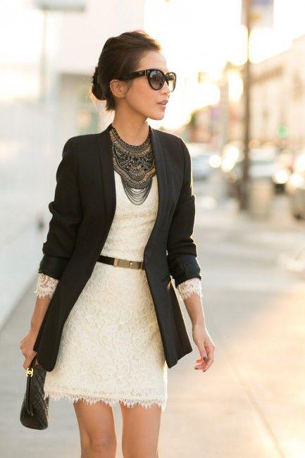 Peekaboo :: Ivory lace & Collarless blazer   ootd reference .