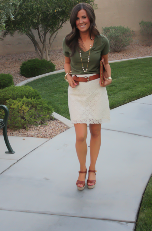 Ivory Lace Skirt, Pearl Neckalce, Wedge Sandals, Cognac Clutch .