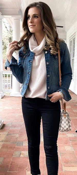 Denim jacket outfit ideas 2019 for ladies to wear in winter .
