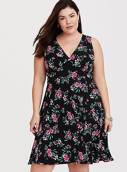 Black Floral Jersey Knit Skater Dress | Fashion, Dresses, Wom