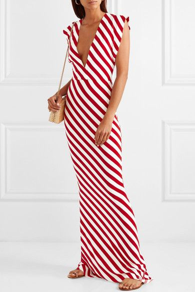 Norma Kamali | Striped stretch-jersey maxi dress | NET-A-PORTER .