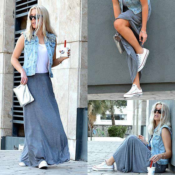 Jersey Maxi Skirt, Studded Jean Vest and Converse Sneakers | Style .
