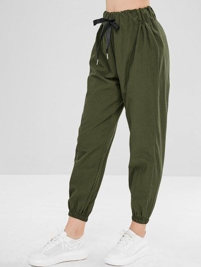 Plain High Waisted Jogger Pants - Army Green S (com imagens .