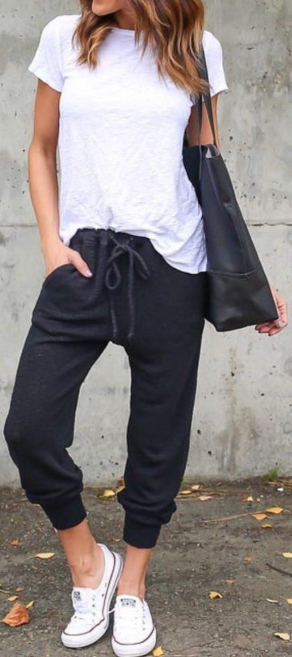 60+ Cute Fall Outfits Ideas: Black Lazy Day Pants // White Top .