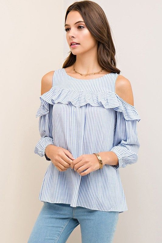 RWL BOUTIQUE - Striped Open Shoulder Top - Ruffles with Love - RWL .