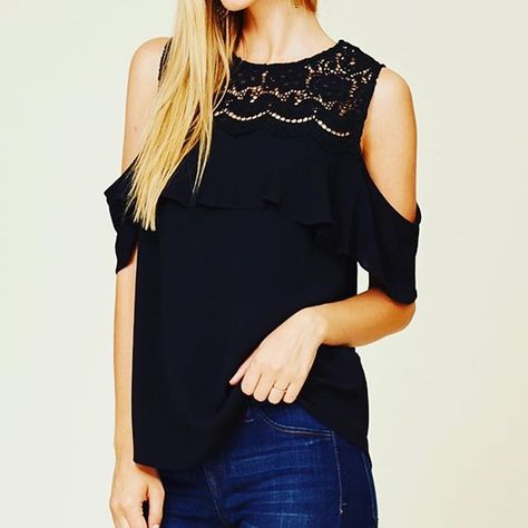 The obvious choice for a cute top is the Cold Shoulder Black Lace .