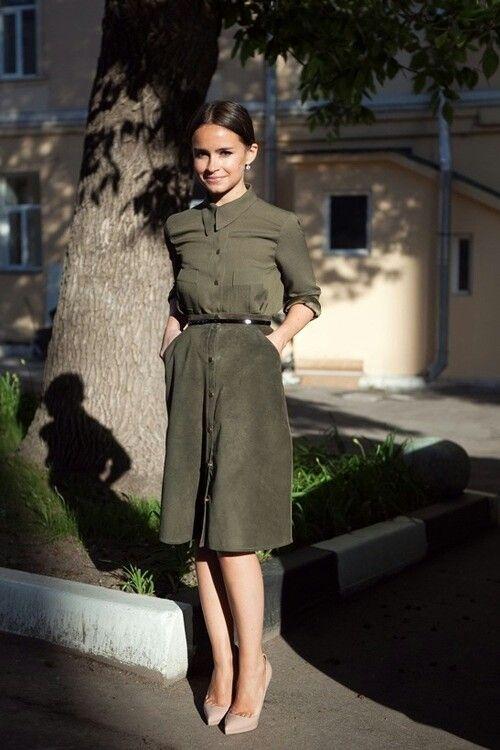 20 Pretty Ways to Wear Khaki Outfit | Платье хаки, Стильное .