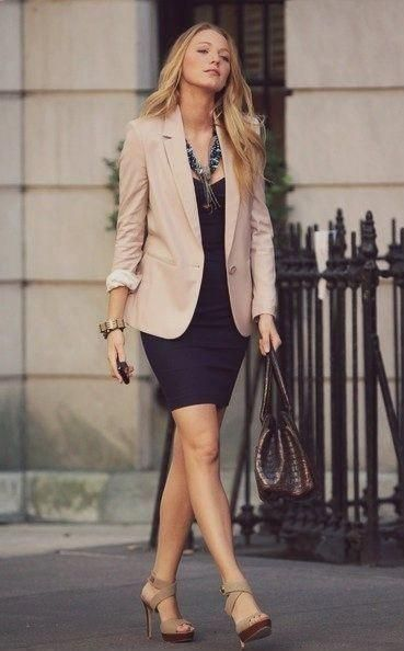 summer outfit ideas for work: khaki blazer over navy sheath dress .