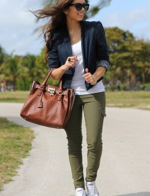 Women's Military Style Khaki Pants | How to wear white jeans, How .