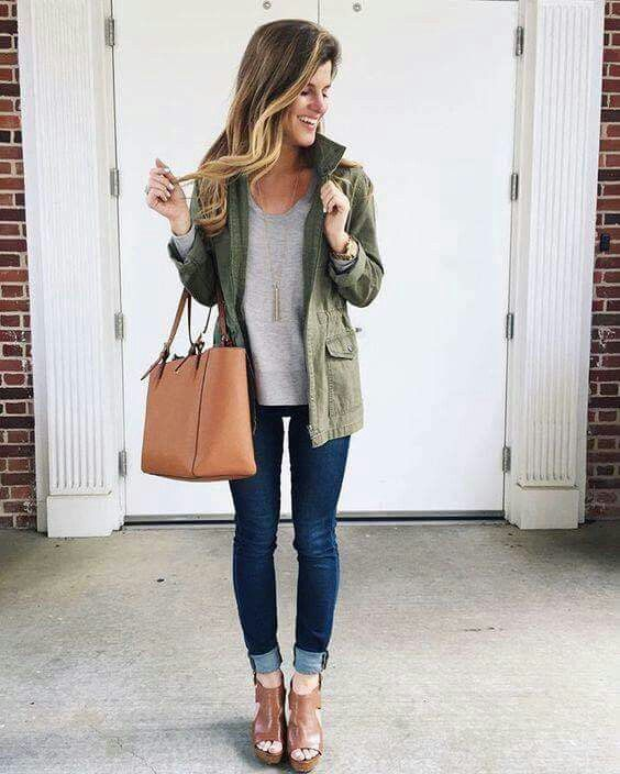 With khaki jacket | Spring outfits casual, Fashion, Sty