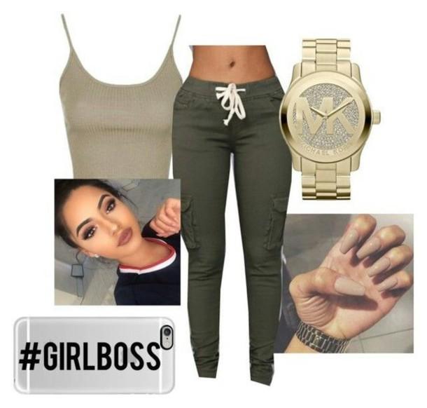 pants, michael kors watch, khaki pants, joggers, outfit idea .