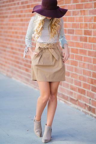 Helena Tan Paperbag Skirt | Skirt outfits fall, Khaki skirt .