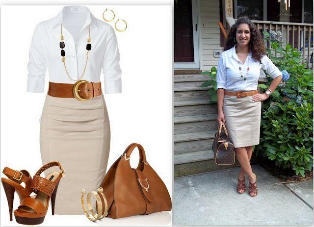 Khaki Pencil Skirt with White Button Up | Khaki pencil skirt .