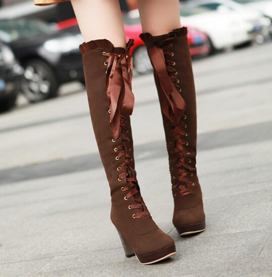 Cute lace-up knee-high boots high-heeled boots · Women Fashion .