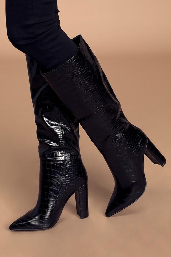 Steve Madden Triumph - Black Knee-High Boots - Crocodile Boo