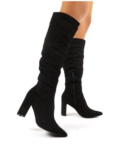 Mine Black Suede Knee High Boots | Public Desire | Public Desire