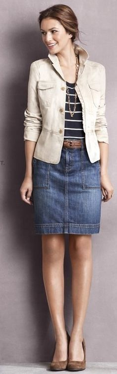 76 Best DENIM SKIRT OUTFIT images | Denim skirt outfits, Skirt .