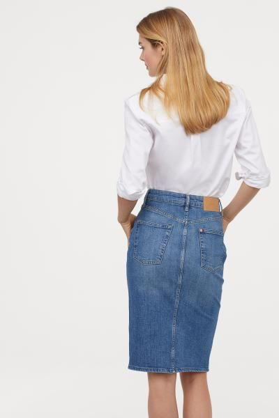 Knee-length Denim Skirt | Skirt outfits modest, Skirt outfits .