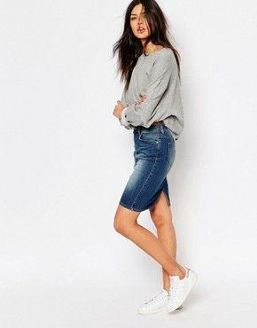 Lee Denim Pencil Skirt | Pencil skirt outfits casual, Denim pencil .