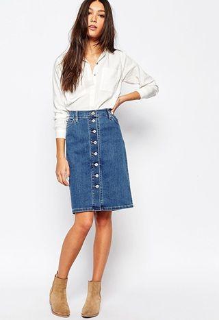 Levi's button down denim knee length skirt | Kledi