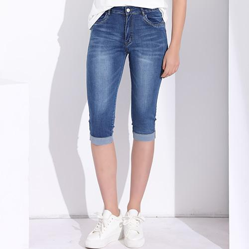 Skinny Capris Jeans Women Female Stretch Knee Length Denim Shorts .