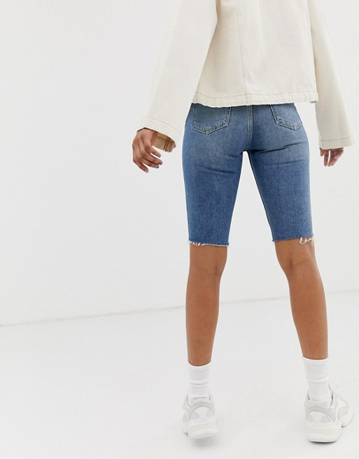 Weekday knee length denim shorts in blue | AS