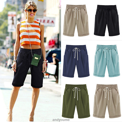 Women Comfy Linen Summer Casual Knee Length Cargo Shorts Holiday .