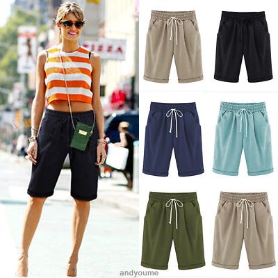 Women Comfy Linen Summer Casual Knee Length Cargo Shorts Holiday .