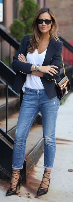 64 Best Navy blazer outfits images | Blazer outfits, Outfits, Navy .