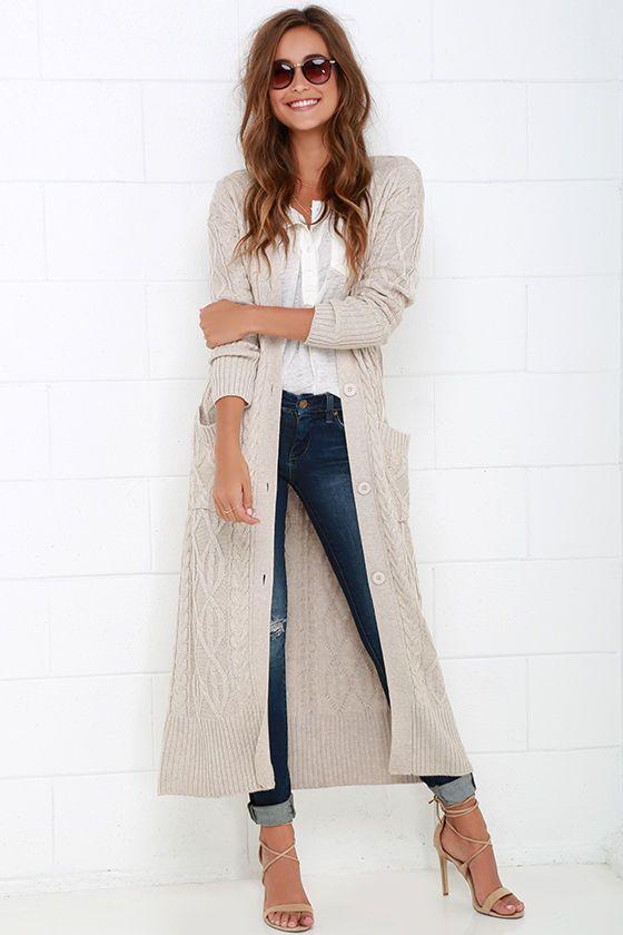 Long Knit Cardigan | Fall fashion coats, Long sweaters cardigan .