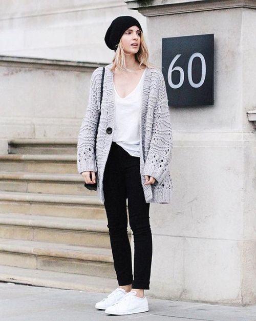 chunky knit gray cardigan outfit – Just Trendy Gir