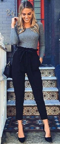 Grey Ribbed Knit + Black Pants @roressclothes closet ideas #women .